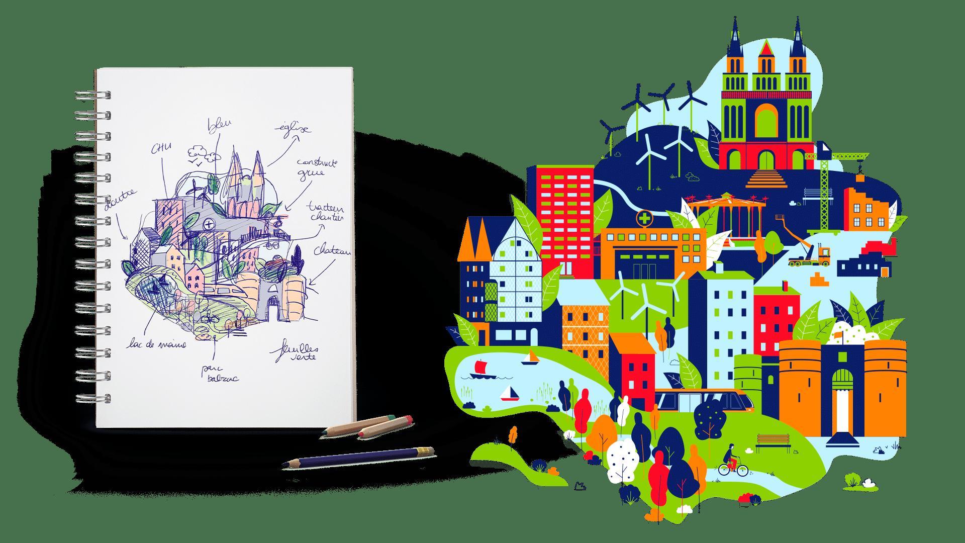 Du croquis à l'illustration vectorielle d'Angers