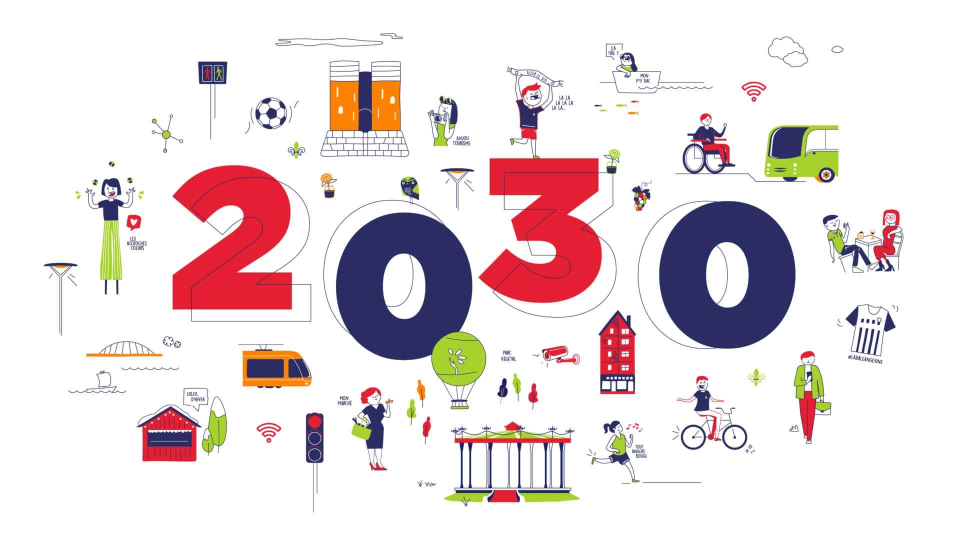 Illustrations générale présentant le contexte et les valeurs de 2030 (Orange, Vinci, Cegelec, SAUR)