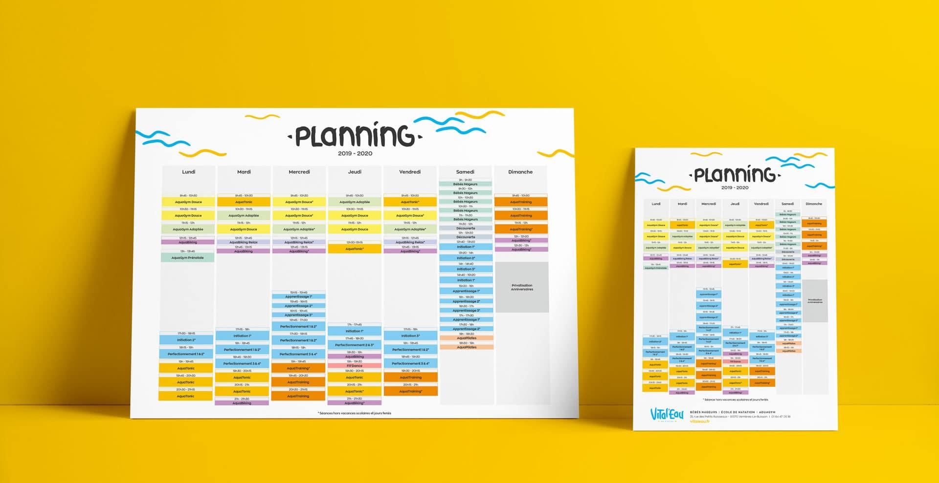 Création du planning imprimable et affiché de Vital'Eau