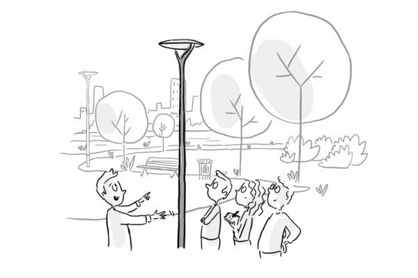 Croquis préparatoire au Draw My Life représentant 3 personnes parlant d'un candélabre connecté dans un parc