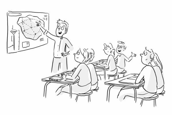 Croquis préparatoire au Draw My Life représentant une classe