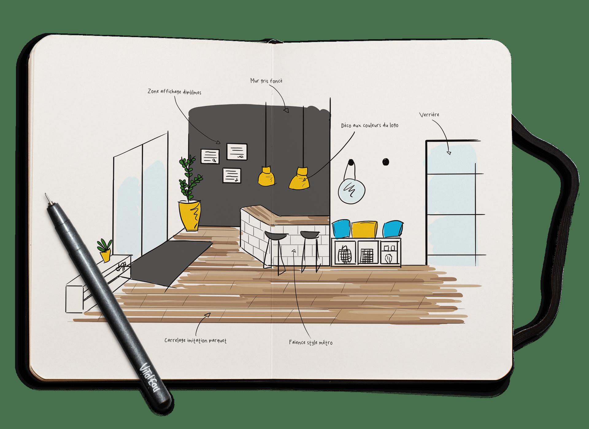 Design d'agencement de l'accueil chez Vital'Eau