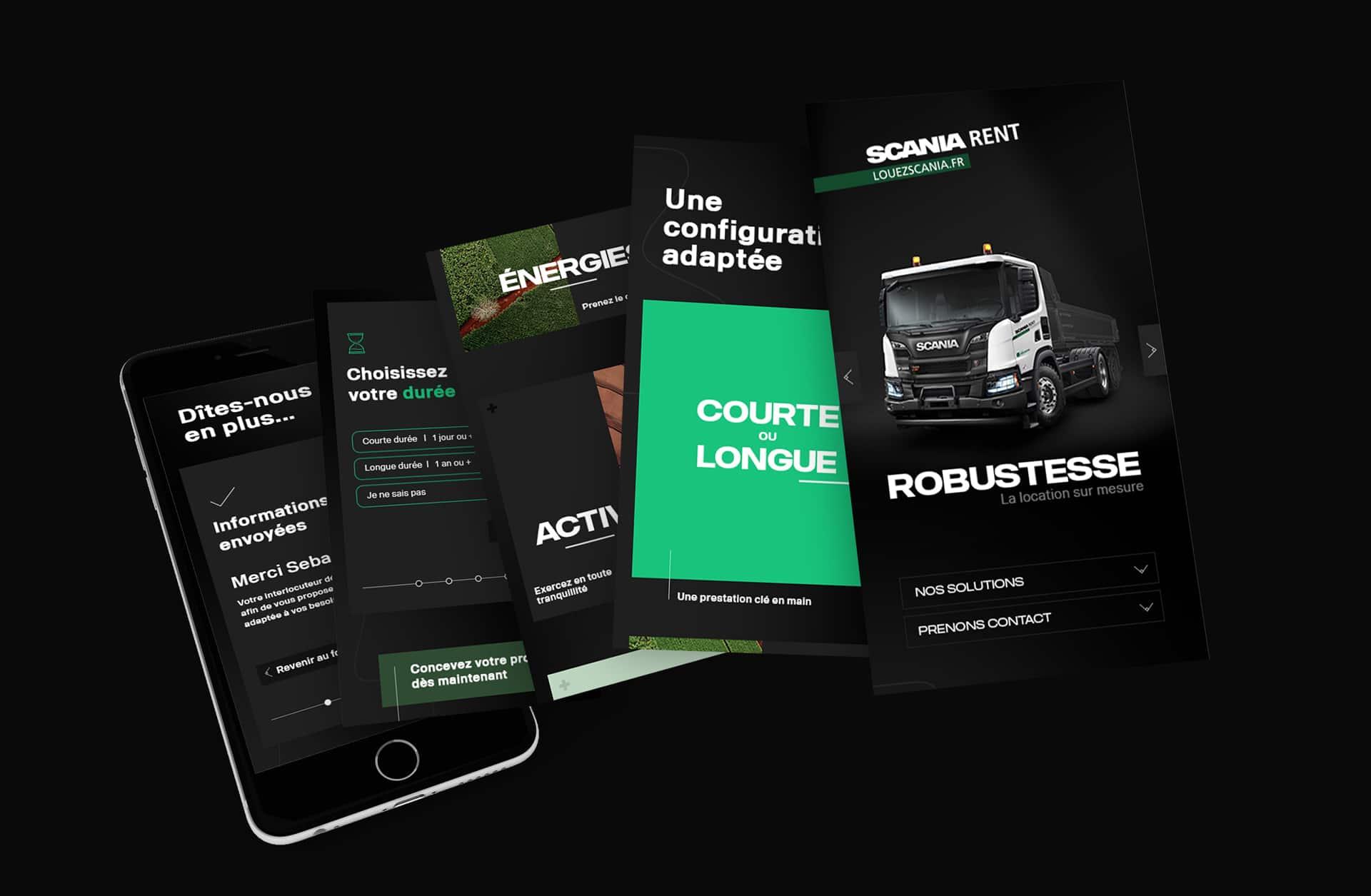 UI Design mobile de la landing page Scania Rent