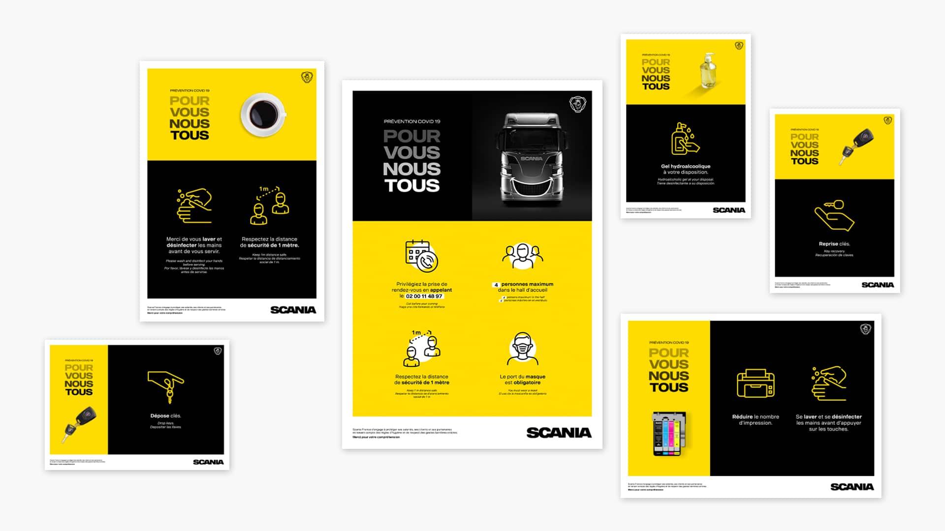 Affiches Scania pour le COVID 19