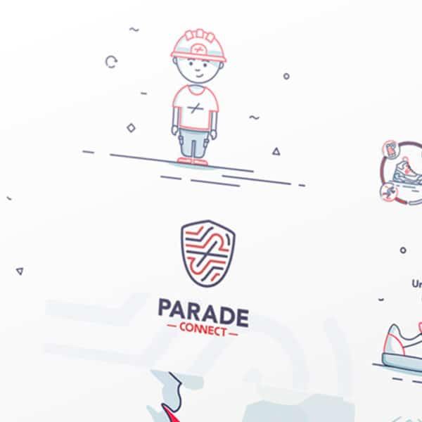 Illustrations du motion design Parade Connect