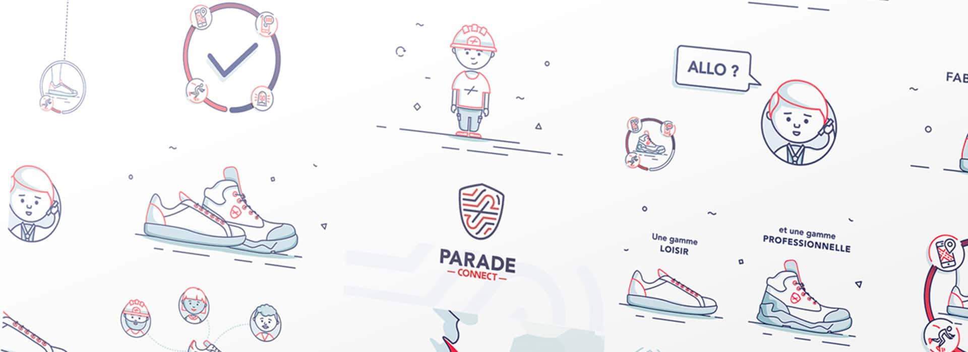 Illustrations du motion design Parade Connect