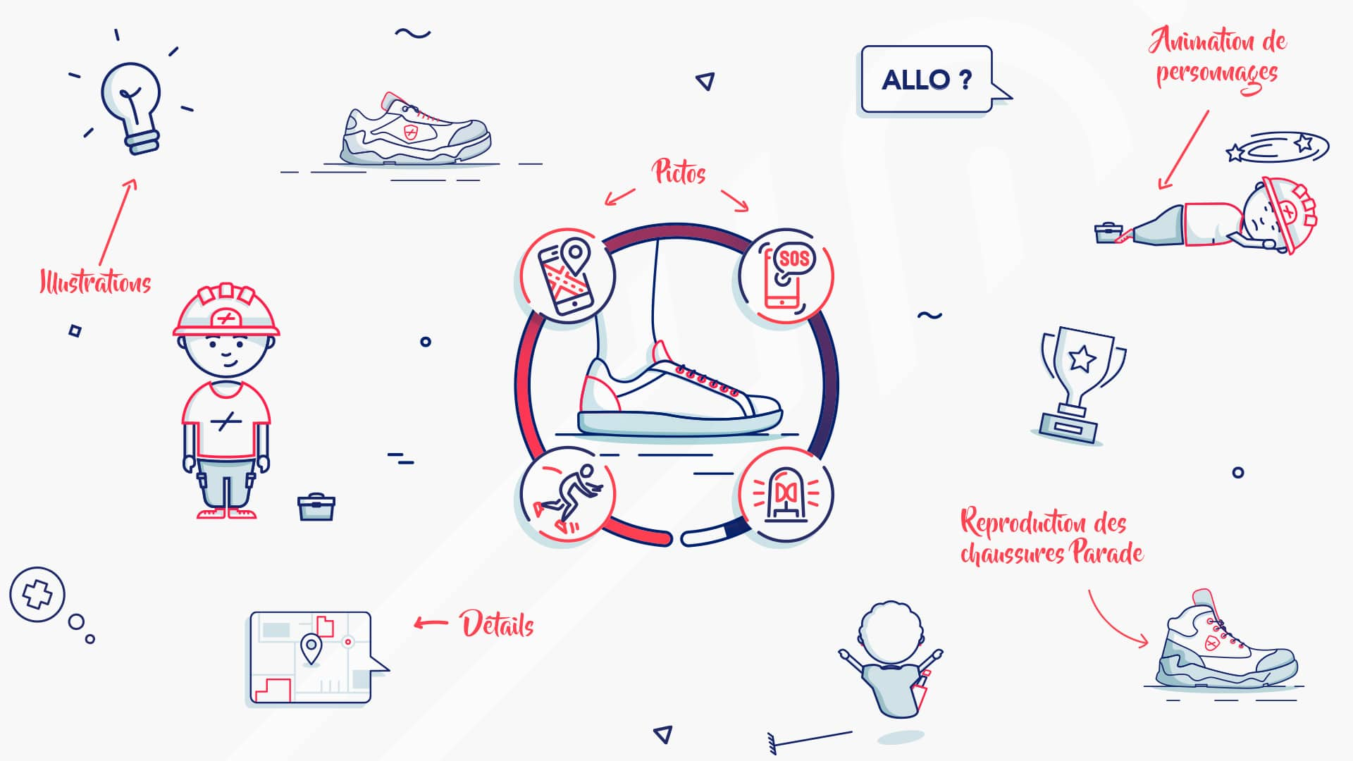 Éléments graphiques illustrés pour Parade Connect