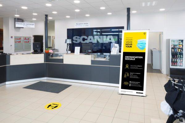 Hall de réception d'un garage Scania aux règles COVID 19
