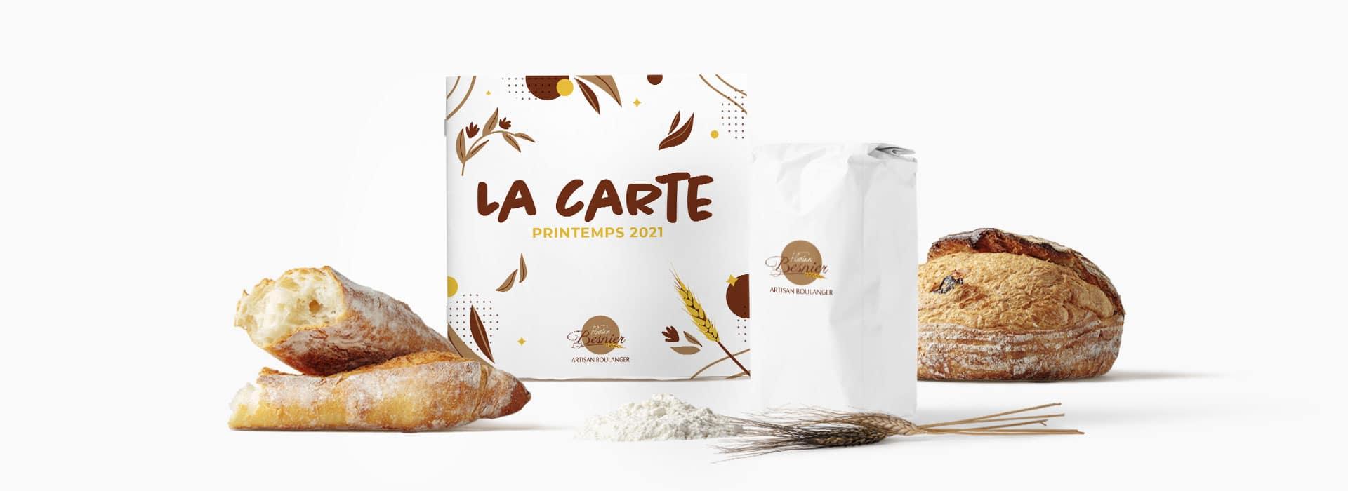 mise en scène de la carte printemps 2021 de Florian Besnier artisan boulanger