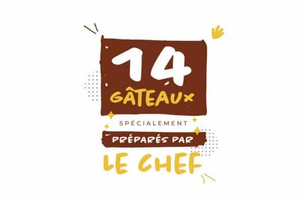 visuel de la 2ème de couverture de la carte printemps 2021 avec les gâteaux spécialement préparés par le chef