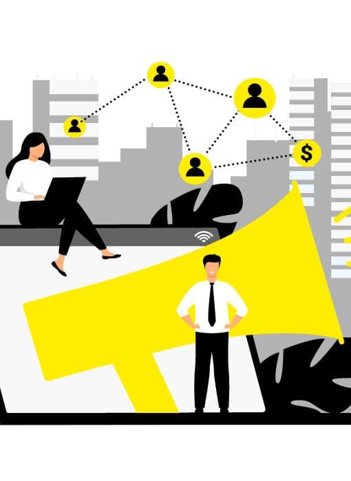 Illustration de la veille dans une entreprise avec ordinateur, mégaphone et réseau entre collaborateurs