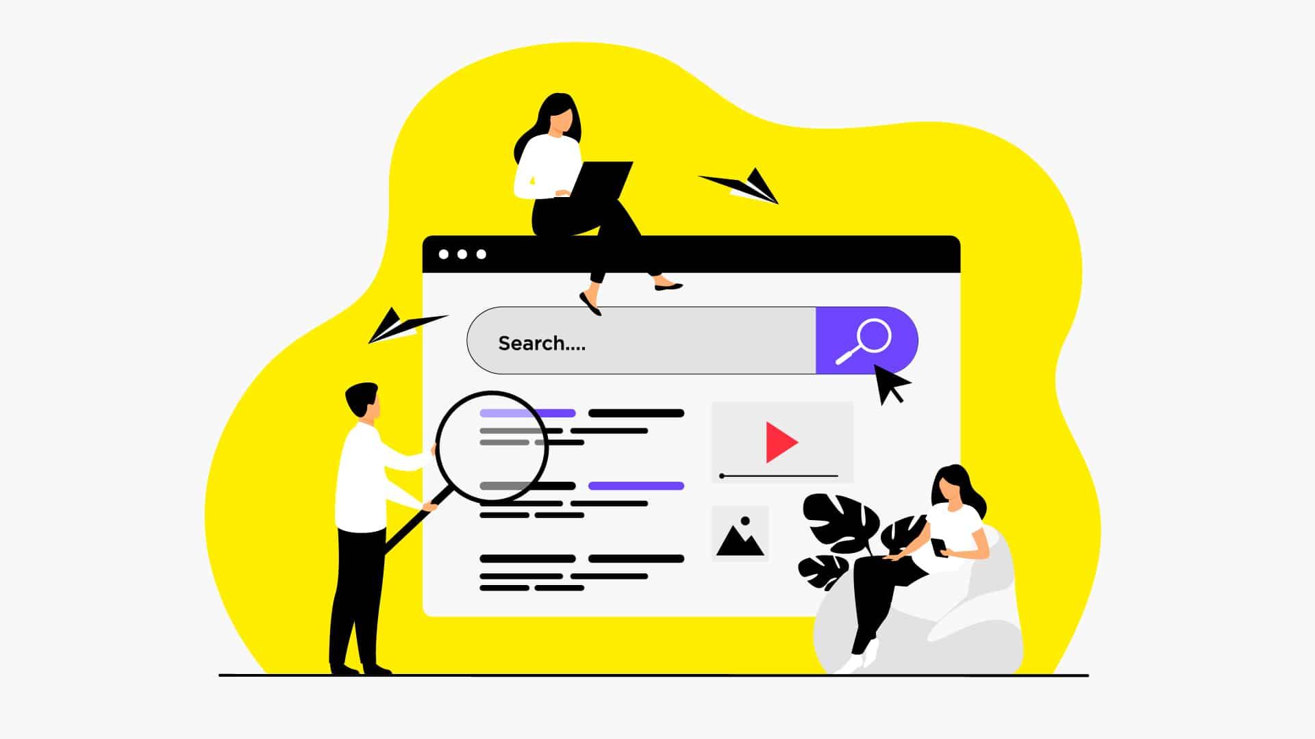 Illustration d'une entreprise autour d'un moteur de rechercher pour signifier la veille