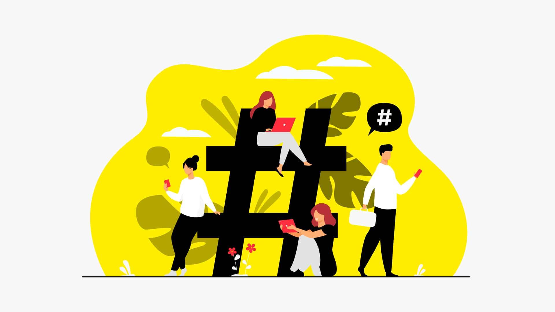 Illustration d'une entreprise autour d'un hashtag géant
