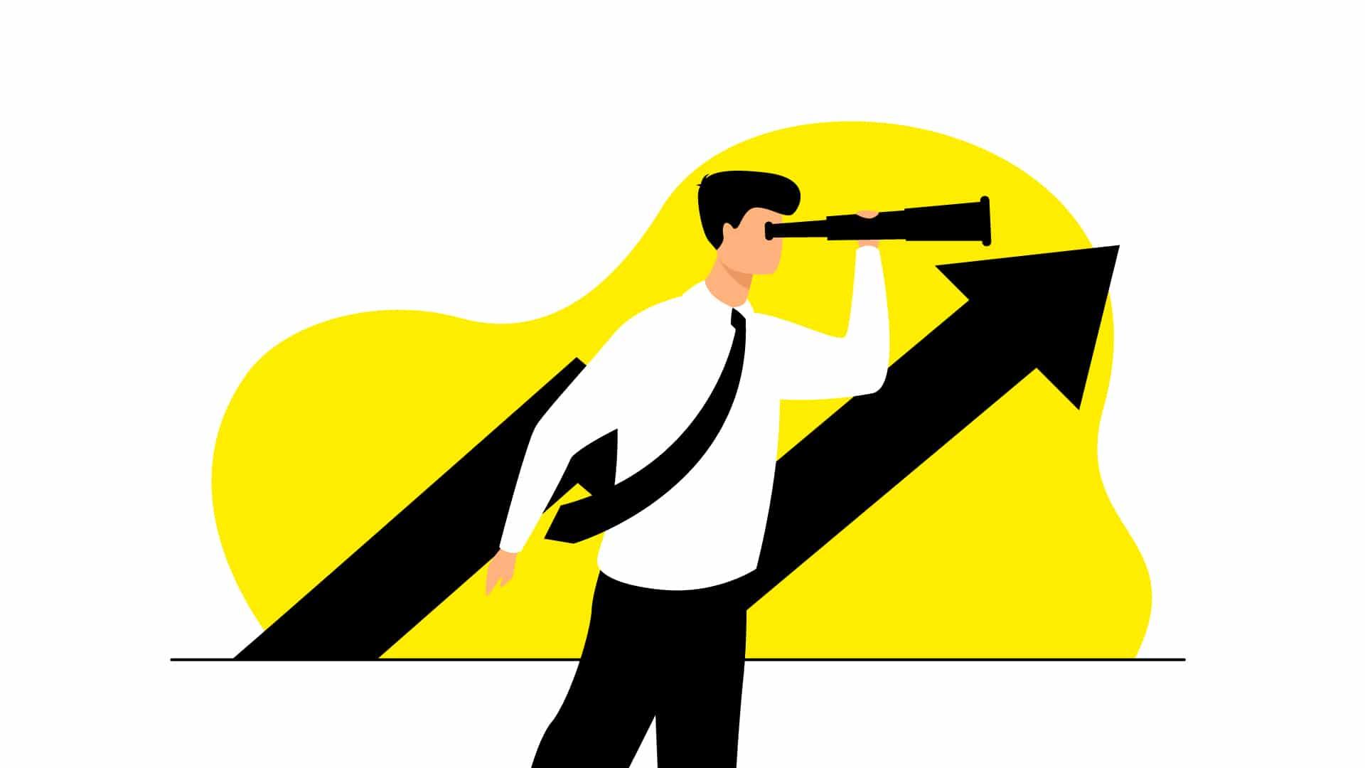Illustration d'un homme observant à la jumelle la croissance de son entreprise