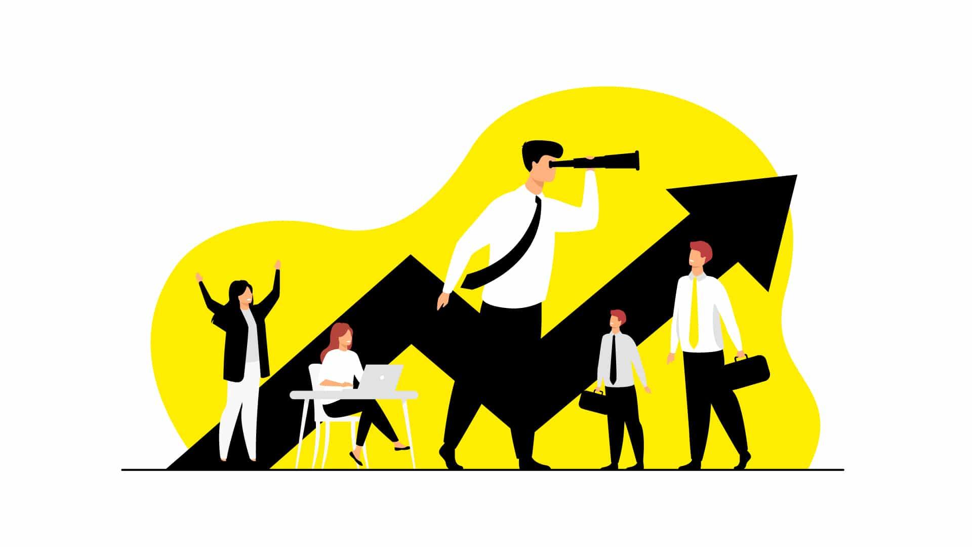 Illustration d'une entreprise avec un homme utilisant des jumelles pour scruter la croissance