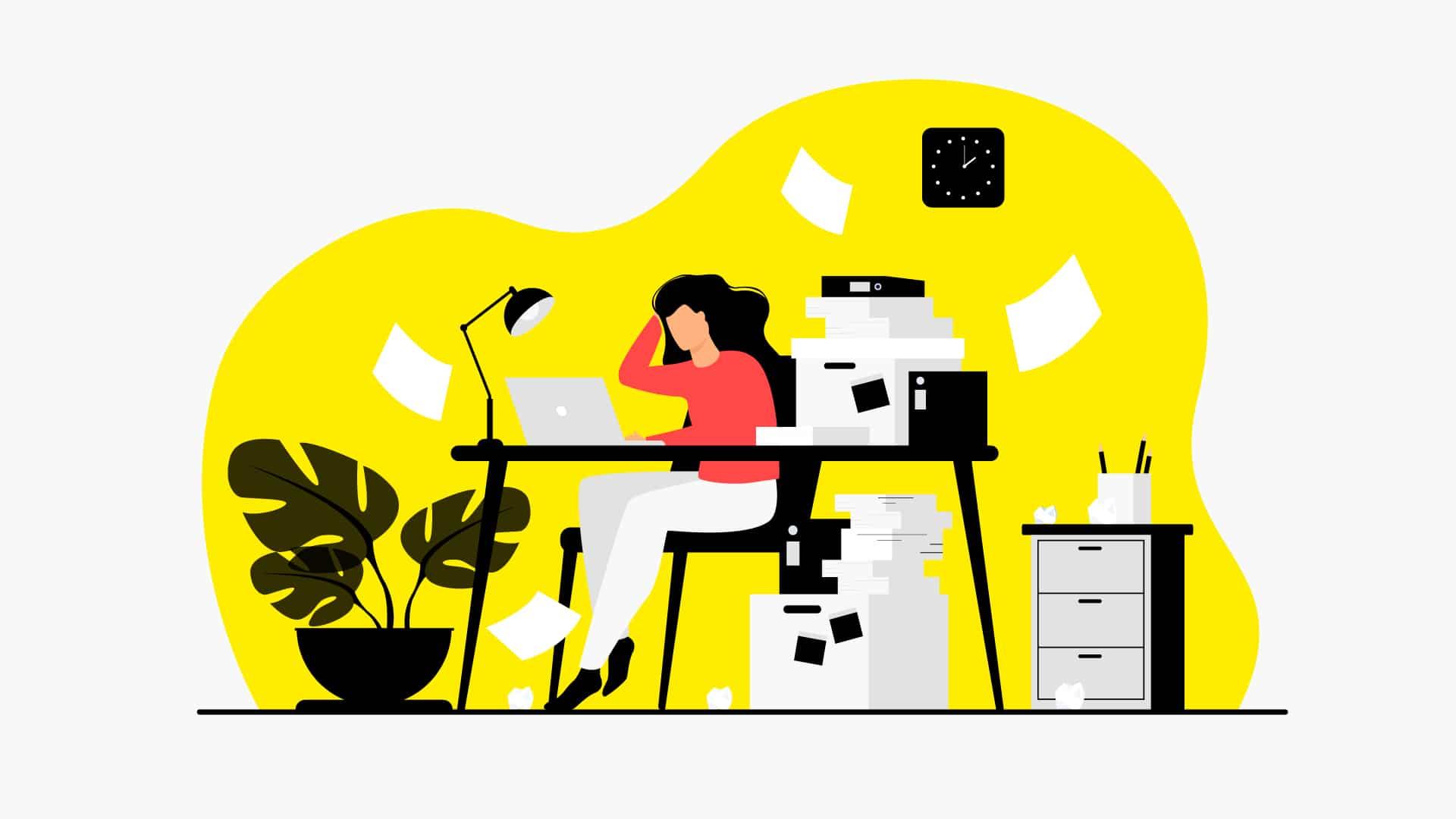 Illustration d'une femme submergée par les dossiers et les actualités