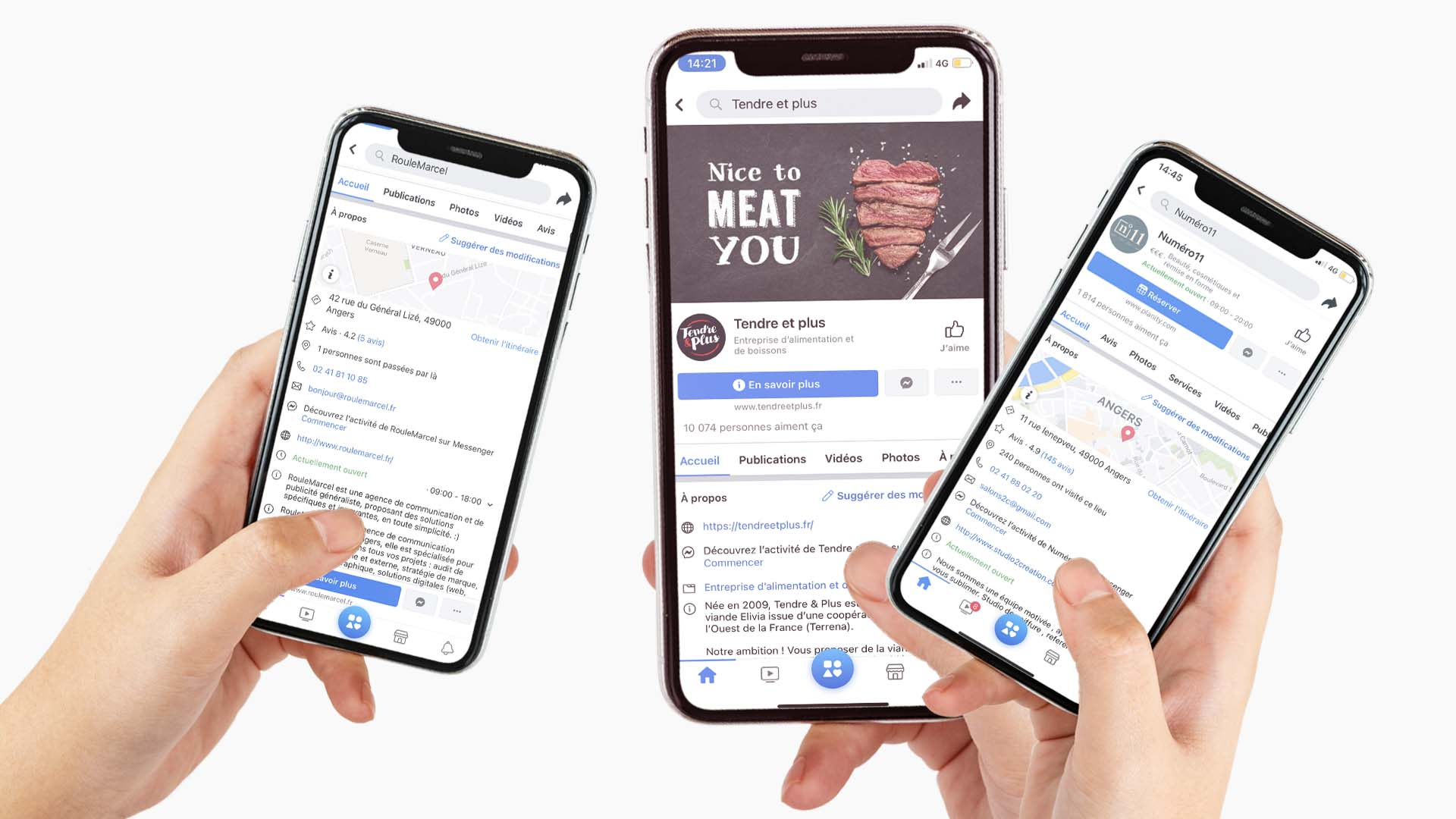 Mise en situation d'une page Facebook sur trois téléphones